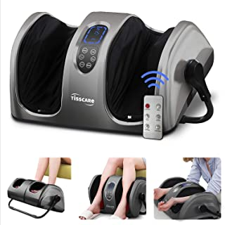 TISSCARE Foot Massager Machine with Heat and Remote, Shiatsu Foot and Calf Leg Massager for Plantar Fasciitis and Neuropat...