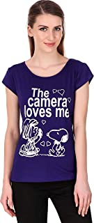 MODISH Casual Printed Cap Sleeve T-Shirts for Girls and Women