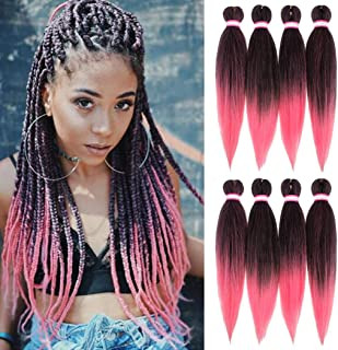 Pre-stretched Braiding Hair 20 Inch 8 Packs Professional Hot Water Setting Yaki Straight Synthetic Braiding Hair for Twist Crochet Braids (#1B/Pink)
