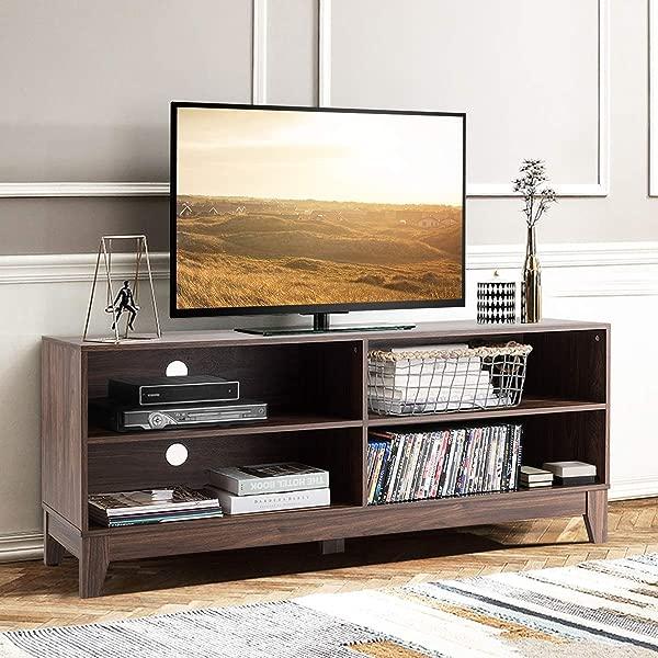 Tangkula 电视架现代设计木制储物控制台电视娱乐中心多达 60 个家庭客厅家具 4 个开放式储物架电视架棕色