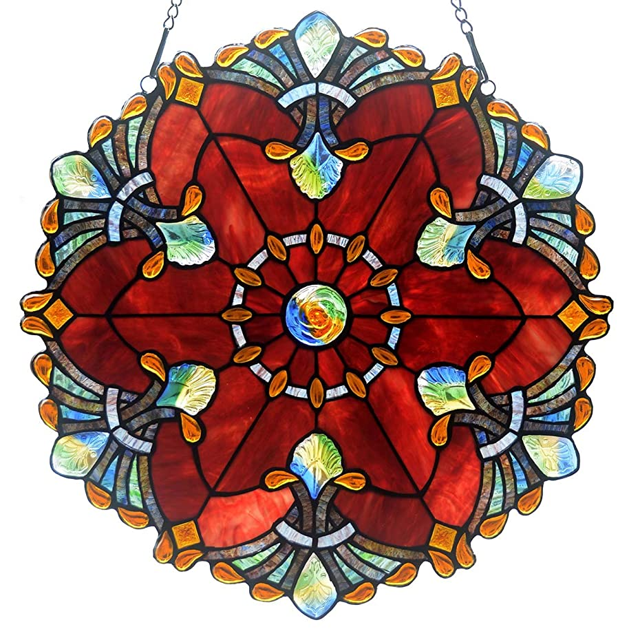 Bieye W10041 Baroque 18 inch Tiffany Style Stained Glass Window Panel with Chain, Red