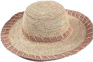 TYTZSM Sombrero para el Sol Sombrero de Playa de ala Ancha Ocasional Lafite Gancho de Mano a Rayas Gran Sombrero de Paja cúpula Sombrero para el Sol Sombrero para la Playa Vacaciones