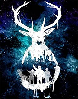 DIY 5D Diamond Painting by Number Kits, Crystal Rhinestone Diamond Embroidery Paintings Pictures Arts Craft for Home Wall Decor (Deer) 11.8X15.7Inch
