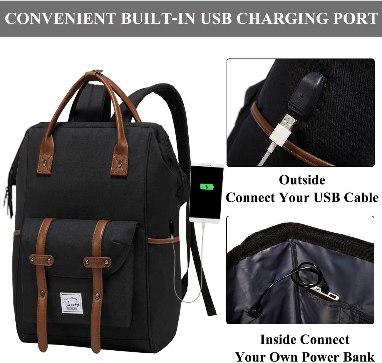 Laptop Backpack,VASCHY Vintage Water Resistant 15.6inch Laptop Top Handle Teacher Bag for Men Women with USB Charging Port Dark Gray