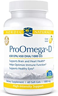 Nordic Naturals ProOmega-D, Lemon Flavor - 1280 mg Omega-3 + 1000 IU D3-60 Soft Gels - High-Potency Fish Oi...