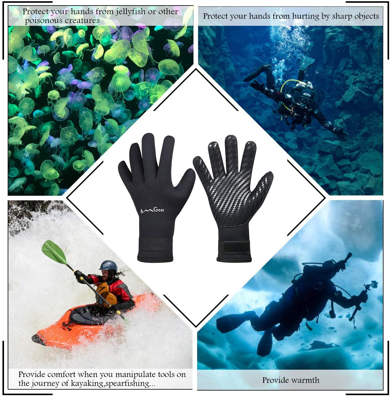 OMGear Neoprene Gloves Diving Wetsuit Gloves 3mm Flexible Thermal with Adjustable Waist Strap for Snorkeling Scuba Diving Surfing Kayaking Rafting Spearfishing Sailing
