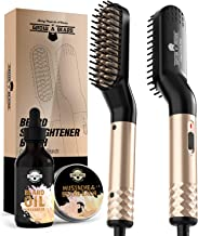 Beard Straightener Brush for Men | Hair Styler Electric Hot Comb With Beard Oil & Balm | Hot Iron Hair Comb | Portable Electric Heating Tool w/Anti-Scald Function for Mens | Heated Beard Straightening