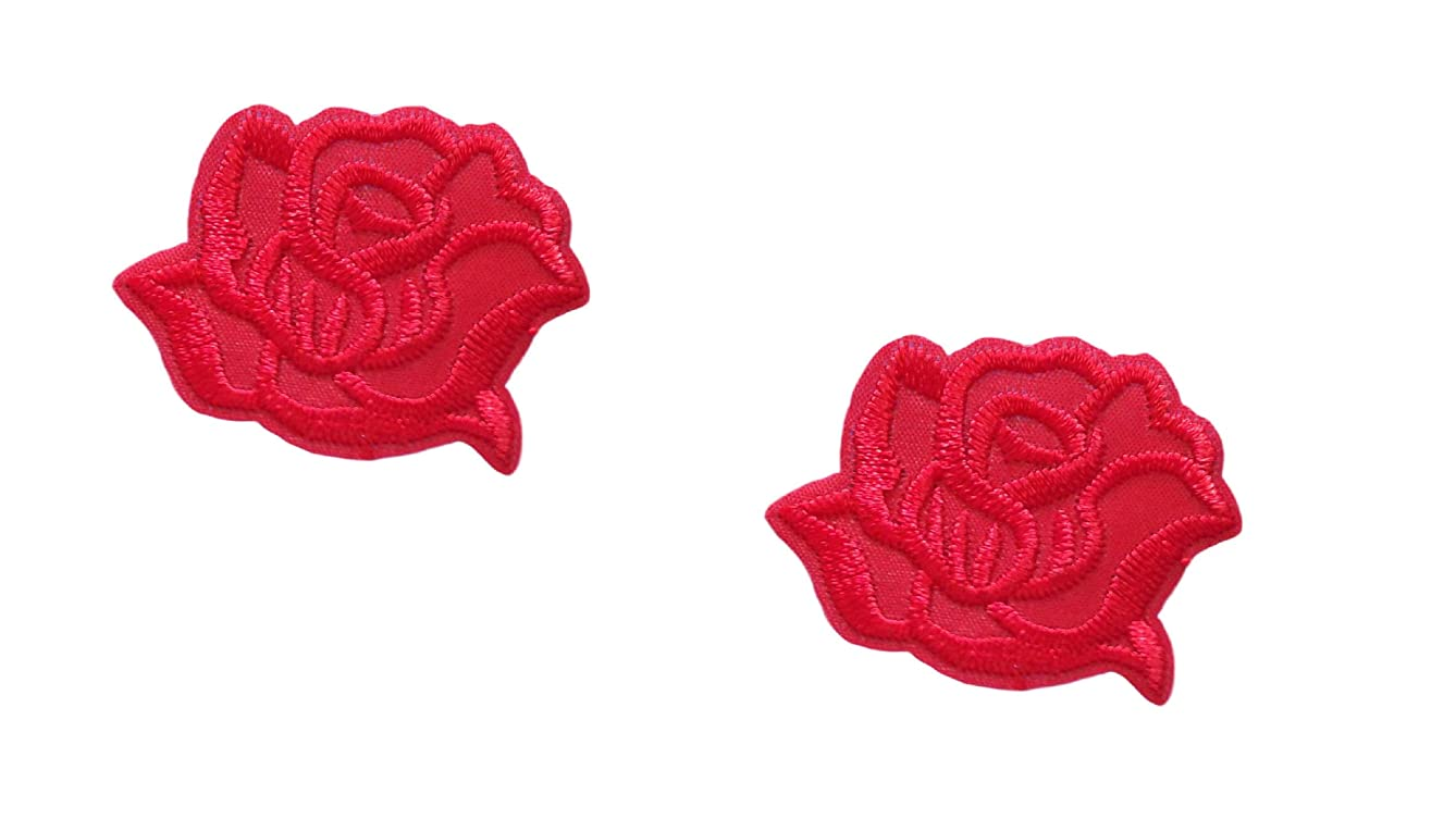 2 Small Pieces RED Rose Iron On Patch Fabric Applique Flower Motif Children Scrapbooking Decal 1.93 x 1.38 inches (4.9 x 3.5 cm)