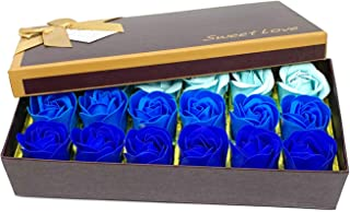 Floral Scented Bath Soap Rose Flower Petals,JIALEEY Plant Essential Oil Rose Soap Set Guest Soap shaped Petals Best Gifts Ideas for Her Women Teens Girls Mom Birthdays, 18 PCS Blue