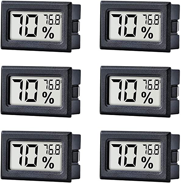 TAIWEI 6 Pack Mini Small Digital Electronic Temperature Humidity Meters Gauge Indoor Thermometer Hygrometer LCD Display Fahrenheit For Humidors Greenhouse Garden Cellar