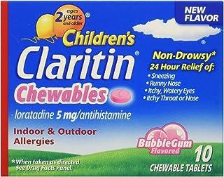 Claritin Children's Chewable Tablets, Bubble Gum, 10 Count