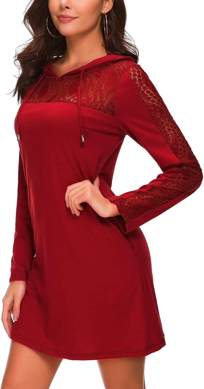 Kormei Damen Langarm Hoodie Bodycon Stretch Sweatshirt Midi Kleider mit 2 Taschen Mini-wine