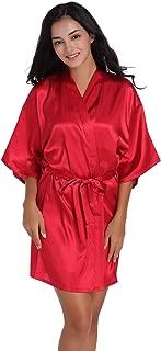 Women's Satin Short Kimono Robe Plain Dressing Gown Bathrobe Bridal Party Robe