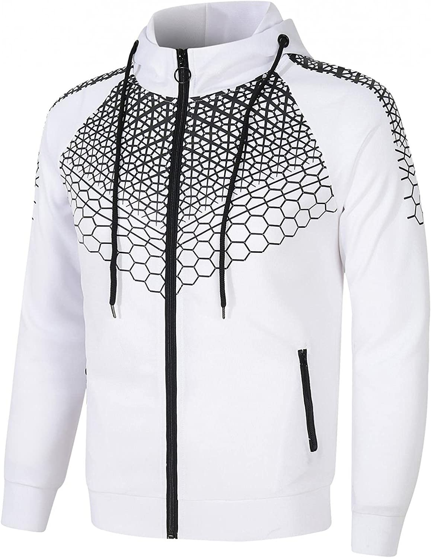 Men's Sweatshirts Full Zip Fashion Long Sleeve Sweatshirt Workout Sports Gym Coat Drawstring Gym Pullover with Packet