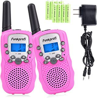 Funkprofi Walkie Talkies for Kids 22 Channels Long Range Rechargeable Walkie Talkies with Battery and Charger, Gift for Boys and Girls, 1 Pair (Pink)