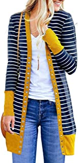 Women's Striped Button Down Open Front Long Sleeve Contrast Color Casual Cardigans Sweaters