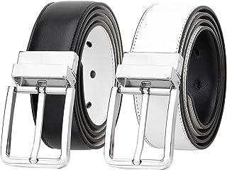 Falari Men's Reversible Dress Belt Genuine Leather (1 Belt 2 Colors)