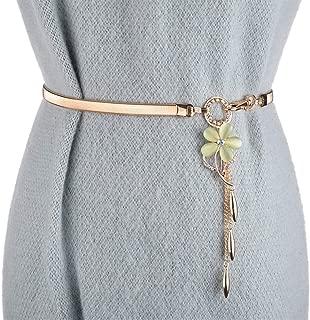 SGJFZD Women's Belt Fashion Wild Elastic Stretch Rhinestone Flower Belt Fashionable Waist Chain with Dress Pants Belt Tide (Color : Green, Size : 75cm)