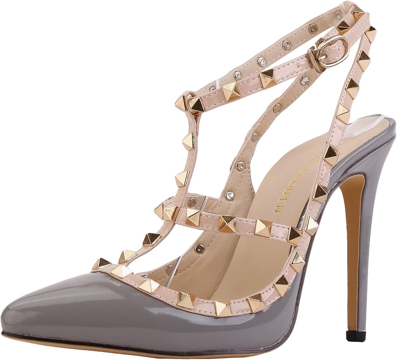Loslandifen Womens Stiletto High Heels Rivet Ankle Strap Pumps