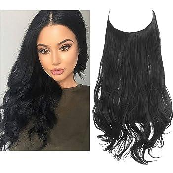 "Black Hair Extension Halo Hairpiece Long Secret Natural Wavy Synthetic Hair Pieces Hidden Wire Crown Headband Japan Heat Temperature Fiber No Clip for Women SARLA 18"" 4.2 oz(M01&1B)"