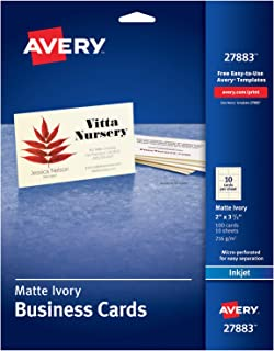 Avery Printable Business Cards, Inkjet Printers, 100 Cards, 2 x 3.5, Ivory (27883)