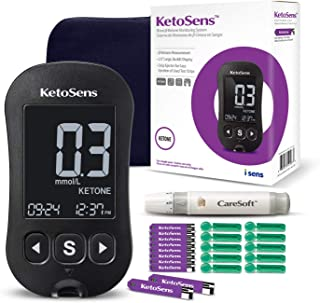 KetoSens Blood Ketone Monitor Kit with Meter, 10 Keto Test Strips, 10 Lancets, Lancing Device & Carrying Case - Ideal for Keto Diet