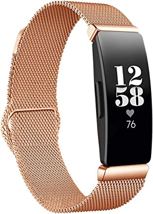 featured product Bands Replacement Compatible Inspire & Inspire HR Smart Watch Women Men Small Large, Mesh Stainless Steel Metal Sport Bracelet Strap Magnet Lock Wristbands (Rosegold, Large: 6.5-9.3)
