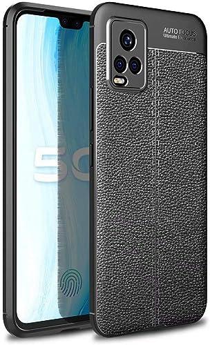 Mobiclonics Leather Textured Autofocus Soft Back Case Cover for Vivo V20 Black