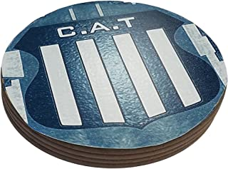 Azty Designs Four Round Coasters Glossy Custom Plastic Effect Argentina Futbol Soccer League