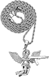 Higher Loyalty Angel Gun Pistol Pendant with Stainless Steel Fashion Jewelry Neckalce for Hip Hop (Silver)