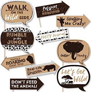 Funny Wild Safari - African Jungle Adventure Birthday Party or Baby Shower Photo Booth Props Kit - 10 Piece