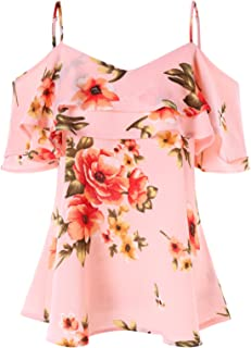 GAMISS Women's Floral Cold Shoulder Top Casual Ruffle Sleeve Layered Chiffon Blouse