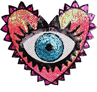 Large Heart Eye Sequins Patch Heart Eye Sew on Patches Embroidered Badge Motif Applique Compatible Clothing Jeans T-Shirt (Pink)