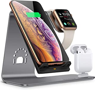 Bestand Wireless Charger Stand, 3 in 1 Qi Fast Wireless Charger Dock Compatible with Airpods/iPhone X/Xs/Xs Max/XR/8 Plus/...