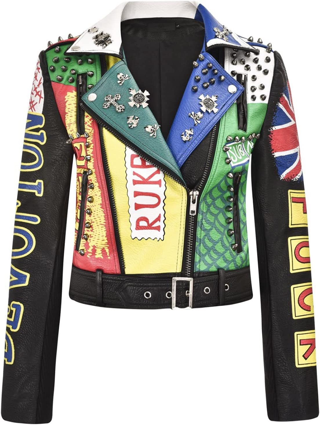 YHNY Women's Faux Leather Jacket Zipper Rivet Rock Punk Short PU Motorcycle Biker Slim Coat Black-XL