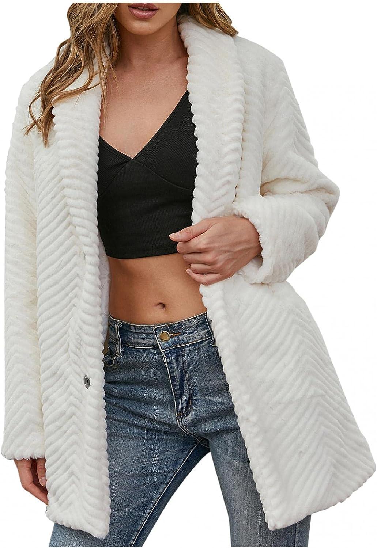 Women Casual Warm Winter Long Lapel Leopard Print Faux Fur Coat Thick Outerwear Loose Solid Color Jacket Coat Tops