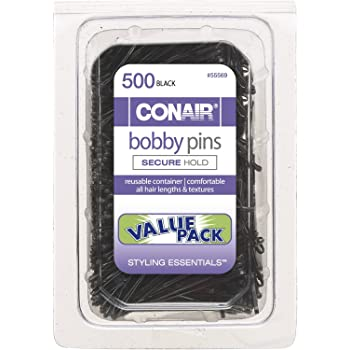 Conair Secure Hold Bobby Pins, Black, Tub of 500 Hairpins