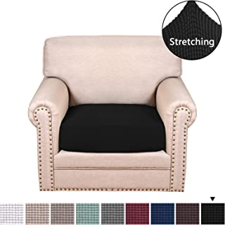 H.VERSAILTEX Durable Soft High Stretch Jacquard 1 Seater Chair Cushion Covers Black Sofa Cushion Furniture Protector Sofa Seat Sofa Slipcover Sofa Cover for Armchair Cushion