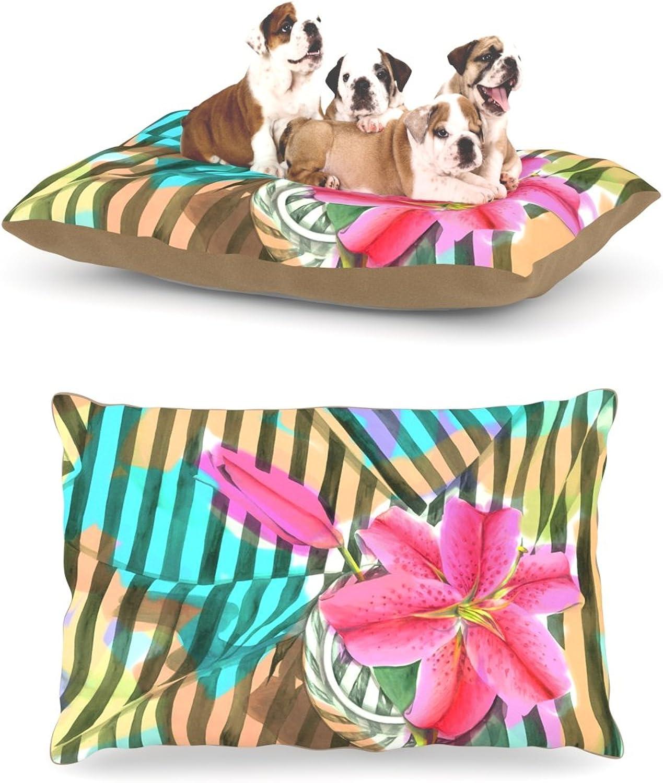 Kess InHouse S. Seema Z Lilly n Stripes  Pink orange Dog Bed