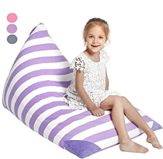 Aubliss Stuffed Animal Storage Bean Bag Chair Cover for Kids, Girls and Adults, Beanbag Cover for Stuffed Animals, 23 Inch Long YKK Zipper, Premium Cotton Canvas, Xmas Gift Ideas(Purple Stripe)