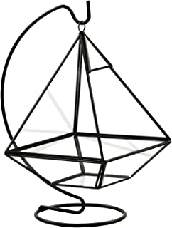 Circleware Hanging Glass Terrarium with Stand - Black Geometric Pyramid Shaped Holder for Succulents and Air Plants