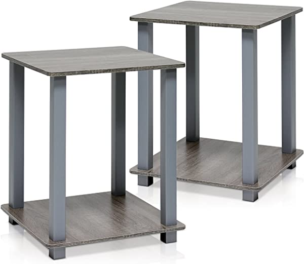 Furinno 12127GYW GY 简单化的端桌法国橡木灰色 2 套续订