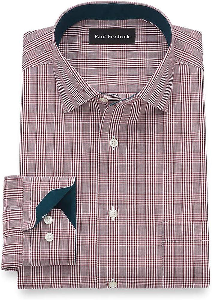 Paul Fredrick Men's Slim Fit Non-Iron Cotton Glen Plaid Dress Shirt