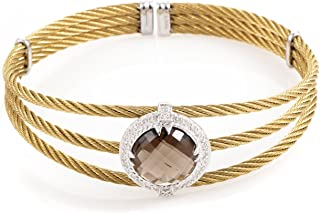Celtic Classique Stainless Steel Yellow Gold Plated Diamonds and Smoky Quartz Cable Bangle Bracelet