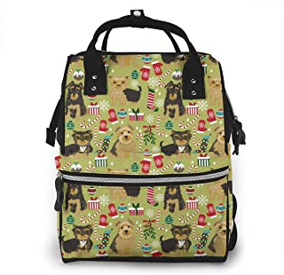 Yorkie Dog Christmas Multi-Function Travel Backpack Nappy Bag,Fashion Mummy Bag