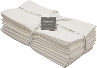 Amour Infini Flour Sack Dish Towels, Set of 12(28 x 28 Inches), Cotton, Off White, Multi-use Kitchen Towels