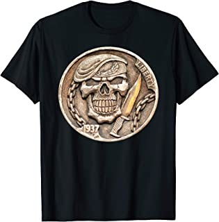 Buffalo Nickel Beret Skull ~ Combat Soldier Knife T-Shirt