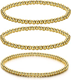 SKQIR 18k Gold Plated Beads Bracelets for Women Girls Stretch Stackable Bracelet Charm Beaded Best Friendship 3mm/4mm/6mm