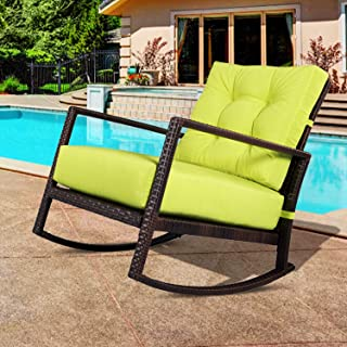 Outroad Rocking Wicker Chair Green Lounge Chair with Thick Cushion for Outdoor, Porch, Garden, Backyard or Pool