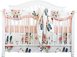 Sahaler Crib Rail Guard Set Boho Floral Nursery Baby Bedding Ruffled Crib Skirt Crib Rail Cover Set (Ruffle Feather Floral)